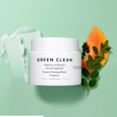 FARMACY Green Clean  A beautiful aquamarine cleansing balm, FARMACY's Green Clean is a nourishing, solid-to-oil cleanser that eliminates impurities to leave your skin velvety smooth and contented. With moringa tree extract to neutralise dirt and pollutants, alongside sunflower and ginger root oils to deep-clean and condition, this gentle formula is suitable for all skin types – including dry, stressed-out or sensitised. Papaya extract has a natural skin-brightening effect (eradicating dulling dead skin cells), while an aromatic blend of lime, bergamot and orange essential oils works to revitalise a lacklustre complexion (and inspire a feeling of wellbeing).   Now available with us 😍